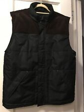 Timberland Vest Insulated Black w/Brown Corduroy Shoulder Zip Front Mens M Nw/oT
