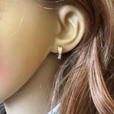 14K Solid Yellow Gold CZ  Earrings - E82