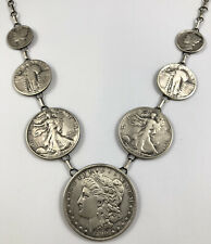 Native American Sterling Silver Coin Necklace Made w Genuine U.S. Morgan Dollar.