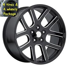 """(4) 22"""" Tires 22x10 SRT10 Dodge Ram Gls Blk Milled Rims 1500 Pickup Set Package"""