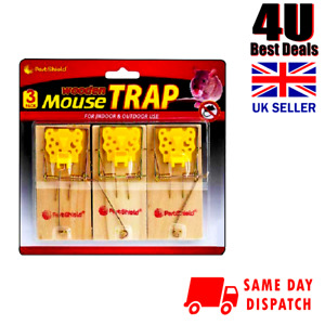 3 X New Traditional Wooden Mouse Large Traps Mice Rodent Trap Durable Catchers