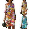 Womens Short Sleeve Floral Boho V Neck Mini Dress Casual Loose Dresses Plus Size
