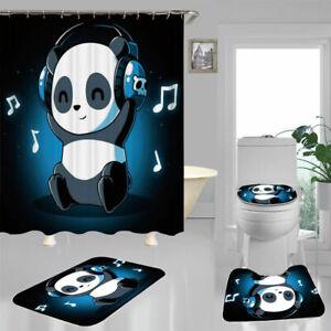 Cute Cartoon Panda Door Bath Mat Toilet Cover Rugs Shower Curtain Bathroom Decor