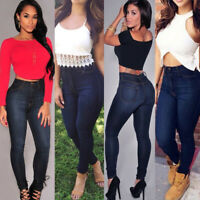 Women High Waisted Denim Jeans Stretchy Skinny Slim Fit Trousers Pants Jeggings