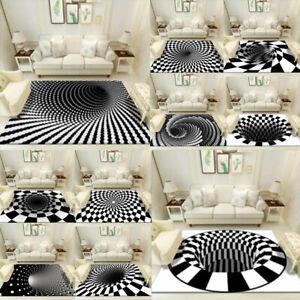 3D Square Vortex Illusion Anti-slip Living room Rug Carpet Floor Door Mat