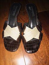 Donald Pliner  Kitten Heel Shoes Brown Open Toe