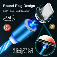 360°  Flowing Light Up Adpter Magnetic Type-C Micro USB Charging Charger Cable