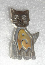 silver cat pin fine Mexican sterling