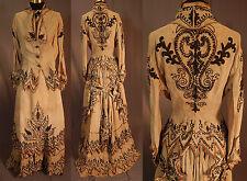 Victorian Linen Brown Soutache Chain Stitch Embroidered Bustle Gown 3pc Dress