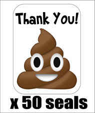 "50 Poop Emoji Thank You! Envelope Seals / Labels / Stickers, 1"" by 1.5"""