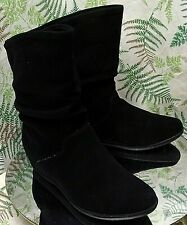 COUGAR BLACK SUEDE LEATHER SLOUCH FASHION ANKLE BOOTS SHOES US WOMENS SZ 10 M