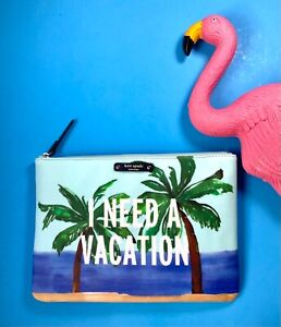 NWT🌴 Kate Spade I NEED A VACATION Gia Clutch Bag Pouch Mask Talk the Palm Trees