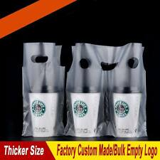 Personalized Custom Plastic Single Twin Cup Take-Away Bags for Drink Coffee Milk