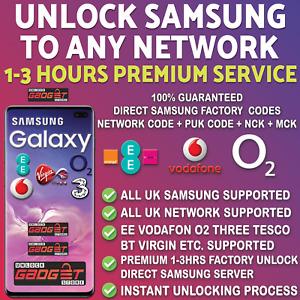 SAMSUNG UNLOCK CODE FOR S10 S9 S8 S7 S6 Edge Note Plus - EE O2 Vodafone Tesco UK