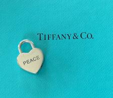 Tiffany & Co. Sterling Padlock Heart Tag Love PEACE Lock Charm Pendant T & Co.