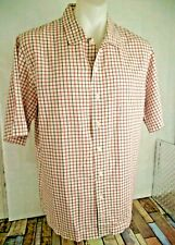 TIMBERLAND Mens Short Sleeve White & red blue Check Summer Cotton Shirt Size L