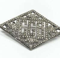 Vintage Sterling Silver Brooch Pin 925 Deco Style Marcasite Initials