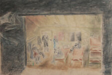 Vintage Painting Theatre Stage Design Signed