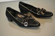 PRADA Sz 37 (US 6) Black Suede Buckle Bow Slip On Loafers Contrast Top Stitch