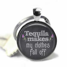 Tequila Makes My Clothes Fall Off Glass Top Handcrafted Gift Key Chain Drinking