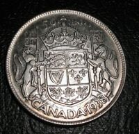OLD CANADIAN COINS CHOICE 1938 CANADA FIFTY CENTS