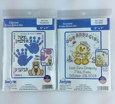 Janlynn Our Baby and Handprints Counted Cross Stitch Kits Duck Lot of 2