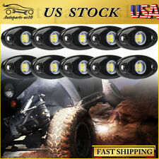 10 Pods White Led Rock Lights for Jeep Atv Truck Underbody Glow Trail Rig Light