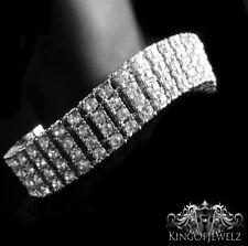 "New Men's 14k White Gold Finish 4 Row Lab Diamond Simulated Tennis Bracelet 8.5"""