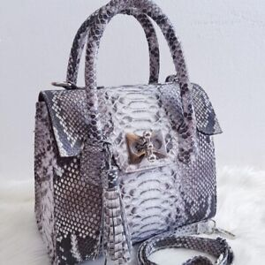Handbag made of genuine phyton snake skin luxury handmade Natural color bag