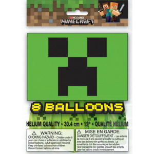 Minecraft Birthday Party Creeper Latex Balloons 8 Pack, sold deflated