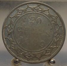 1899 Canada Newfoundland Silver 20 Cents, Old Sterling Silver World Coin