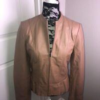 Tahari Camel Lambskin Leather Jacket Sz M Zip Pockets Peplum Fitted Quality EUC