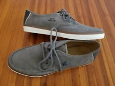 LACOSTE MENS BOAT SHOES SZ 10 SEVRIN 2 GREY CASUAL SUEDE SNEAKERS EUC