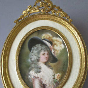 Antique French GILT Bronze Frame Ornate CROWN Miniature Painting Lady Devonshire