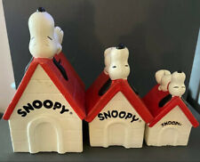 Snoopy 3 Different Money Bank Doghouse Vintage Peanuts Collector Schulz