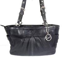 Coach Smooth Black Leather Satchel Shoulder Bags Silvertone HW