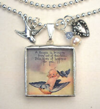 Kewpie Happy Bluebird Necklace Rose O'Neill Jewelry Reversible Vintage Charm