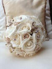 IVORY CHAMPAGNE BEIGE ROSES BROOCH HEART GYP PEARLS BRIDES POSY WEDDING BOUQUET