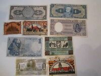 COLLECTION OF 9 OLD CURRENCY NOTES - WORLD WIDE - NICE -