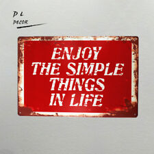 DL- shabby chic Retro Enioy the simple things in Life metal wall art sticker