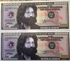 JERRY GARCIA GRATEFUL DEAD MILLION DOLLAR LOT of (2) NOVELTY NOTES USA SELLER !