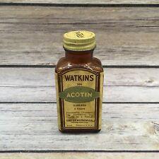 Vintage J R Watkins Co Glass Bottle Acotin Tablets Empty Bottle Advertising