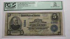 $5 1902 Eureka California CA National Currency Bank Note Bill Ch. #5986 F12 PCGS