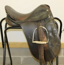 "Black Dressage Saddle 17"" Large Leather DEEP English W/Stirrups/Leathers Adult"