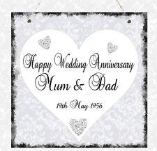 Personalised Wedding Anniversary Plaque Wife Mum & Dad Golden Gift Present