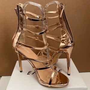 Unbranded Ladies Rose Gold Patent Leather Strappy High Heel Sandals NIB Sz 14