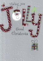 Wishing You A Jolly Good Christmas Card Embossed & Foiled Xmas Greeting Cards