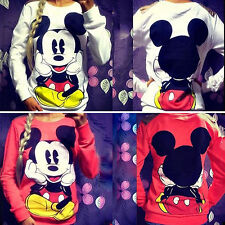 Women Mickey Mouse Pullover Sweatshirt Hoodie Sweater Jumper Tops Blouse T Shirt
