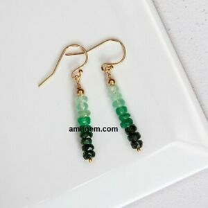 Natural Faceted Emerald Shaded Gemstone Beads 925 Sterling Silver Hook Earring A