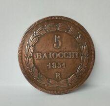 VATICAN etats pontficaux // 5 BAIOCCHI 1851 R // PIE IX ANNO VI